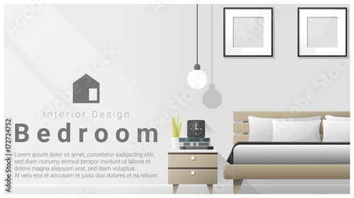 Interior design with Modern bedroom background , vector , illustration