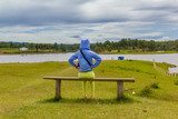 woman  siting on chair looking at the lake - 172727134