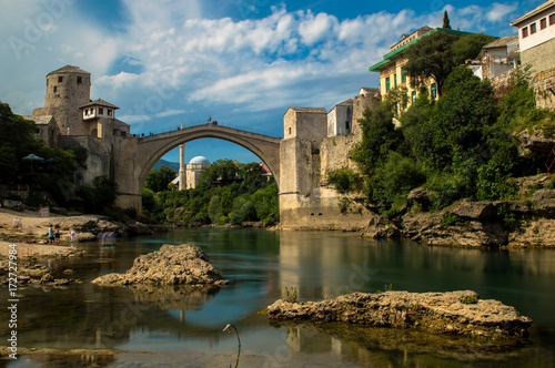 Fridge magnet Stunning view of the beautiful Old Bridge in Mostar, Bosnia and Herzegovina