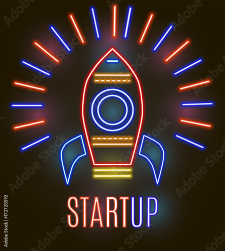 Neon startup icon. Vector illustration for business design.