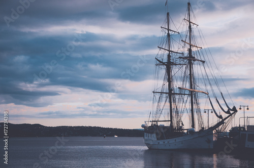 Ships in the harbor of Oslo, Norway Poster