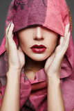 beautiful woman covers her face,islamic style