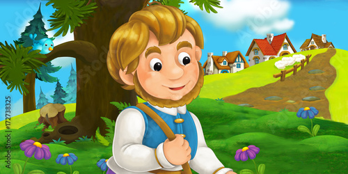 cartoon scene with traveler near the village - illustration for children - 172738325