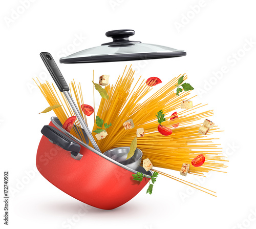 Beautiful red saucepan with pasta and cheese with greens - 172740502
