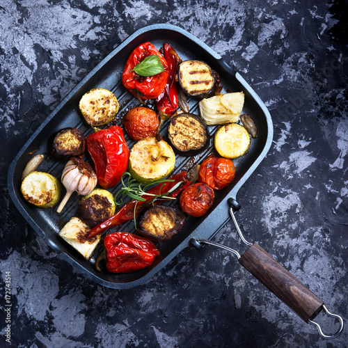 Grilled vegetables in a frying pan - 172743514