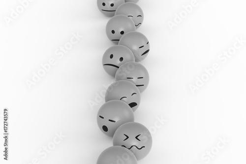 Smileys genervt in der Warteschlange