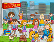 cartoon kids with dogs in the city