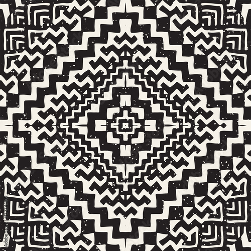 Hand drawn painted seamless pattern. Vector tribal design background. Ethnic motif. Geometric ethnic stripe lines illustration. For art prints, textile, wallpaper, wrapping paper. - 172744105