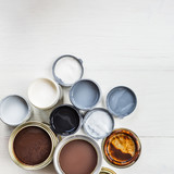 Open Cans of Different Paints, Varnish and Stain - 172744713