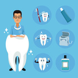 Dentist cartoon campaign icon vector illustration graphic design
