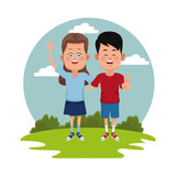 Kids at park icon vector illustration graphic design