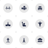 Set Of 9 Landmarks Icons Set.Collection Of Bridge, Paris, Seattle And Other Elements. - 172750111