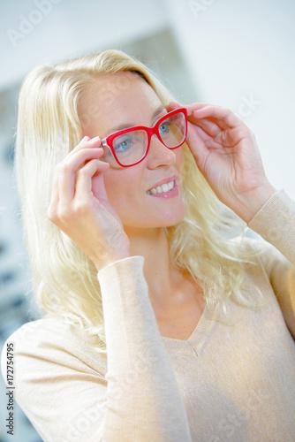 Plakát beautiful woman wearing fashionable glasses