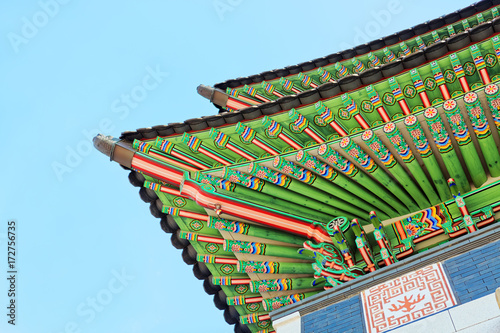 Fotobehang Seoel Roof top of the main entrance to Gyeongbokgung Palace - translation for this word is