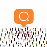 People group chat icon frame on the white background. Vector illustration