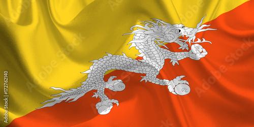 Waving flag of the Bhutan  Flag in the Wind  National mark