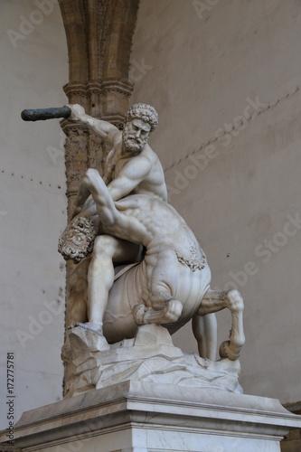 Statue of Hercules killing the Nesso Centaur in Piazza della Signoria in Florence Italy Poster