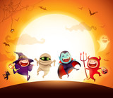 Halloween Kids Costume Party. Group of kids in Halloween costume jumping in the moonlight. - 172777146