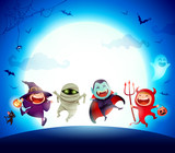 Halloween Kids Costume Party. Group of kids in Halloween costume jumping in the moonlight. - 172777148