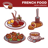 French cuisine food dishes vector icons for restaurant menu - 172781139