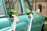 Beautiful floral decoration on wedding car - 172789750