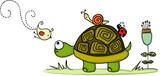 Turtle in garden with animal friends - 172799560