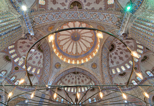Decorated ceiling at Sultan Ahmed Mosque (Blue Mosque), Istanbul, Turkey Poster