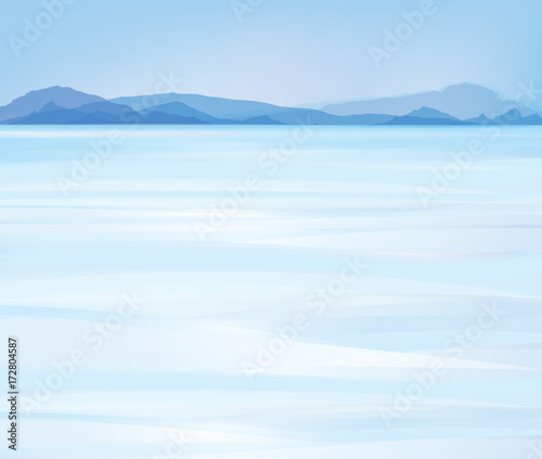Foto op Canvas Lichtblauw Vector snow mountains background.