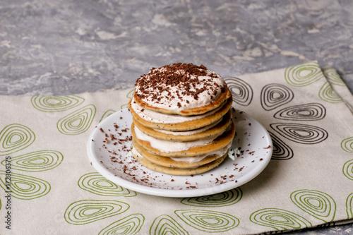 Foto op Plexiglas Klaprozen Pancake with poppy seeds and chocolate