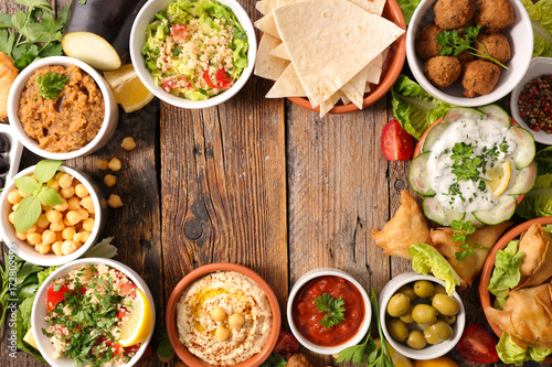 selection of libanese food mezze - 172809593