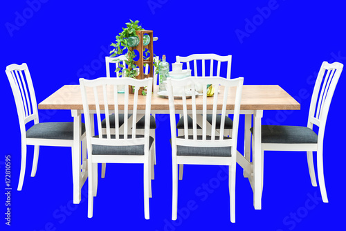 Leinwandbild Motiv Modern set of white wooden dining table with clipping path interior decoration contemporary