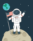 Astronaut with Flag on the Moon - 172811788