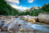 Beautiful turquoise Soca river in the Triglav National Park - 172814976