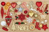 Christmas symbols with noel sign, bauble decorations, traditional ornaments, holly, mistletoe, mince pie and gingerbread biscuit on oak wood background. - 172816756