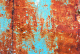 Teal and orange grunge rusty metal surface texture - 172817110