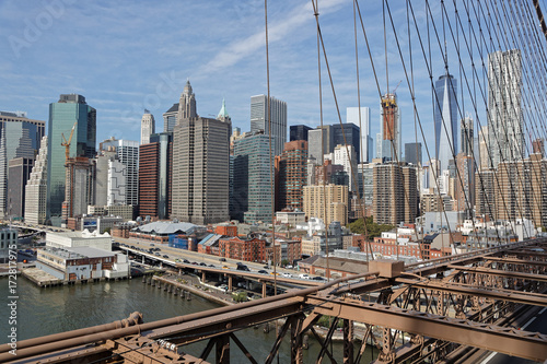 Foto op Plexiglas Brooklyn Bridge Vue de Manhattan depuis le pont de Brooklyn