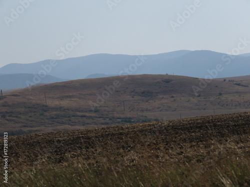 Poster Grijze traf. Crimean landscape