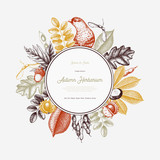 Vintage card design with bird. Hand drawn leaves and seeds illustration. Vector autumn template. Wedding invitation.  - 172821717