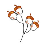 oak branch with acorns natural foliage vector illustration - 172821993