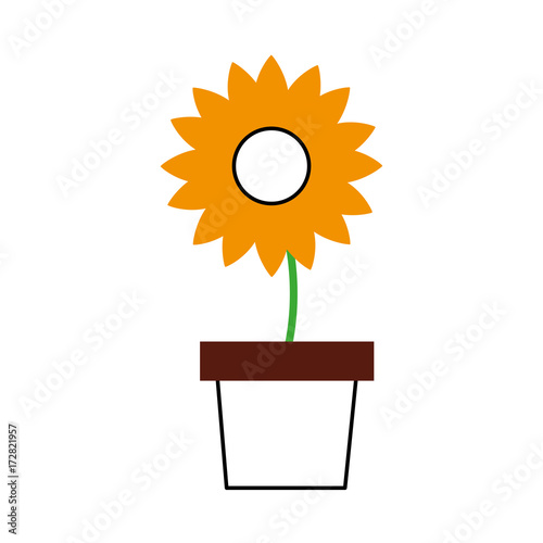 potted flower nature decoration ornament vector illustration