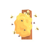 Beehive, hornets or wasp nest cartoon vector illustration