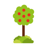 tree with fruit natural forest environment concept vector illustration - 172822573