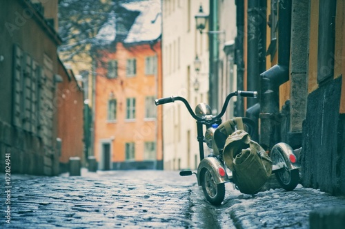 Fotobehang Stockholm Детский велосипед