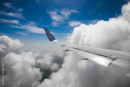 the view from the window of a passenger plane Poster