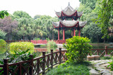 Pagoda by a pond in a park, Chengdu, China