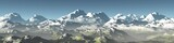 panorama of mountains, mountain landscape, snowy peaks, 3d rendering - 172829127
