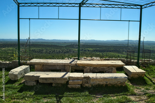 Fotobehang Blauw Stone table, and view on valley from Bribir fortress, Dalmatia