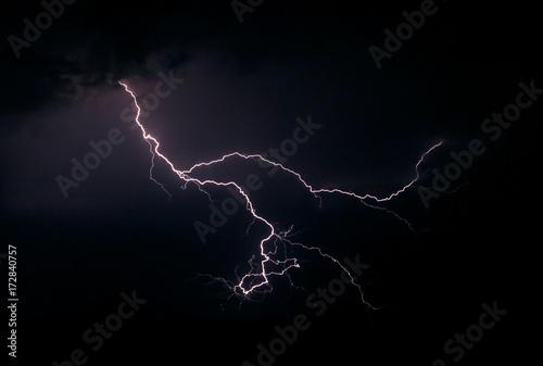Lightning in the night sky