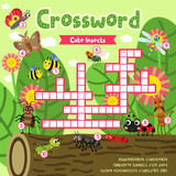 Crosswords puzzle game of insect bug animals for preschool kids activity worksheet colorful printable version. Vector Illustration. - 172841353