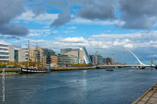 Dublin skyline with ship Poster